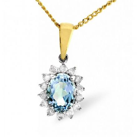 9K Gold 0.21ct Diamond & 7mm x 5mm Blue Topaz Pendant, E2694